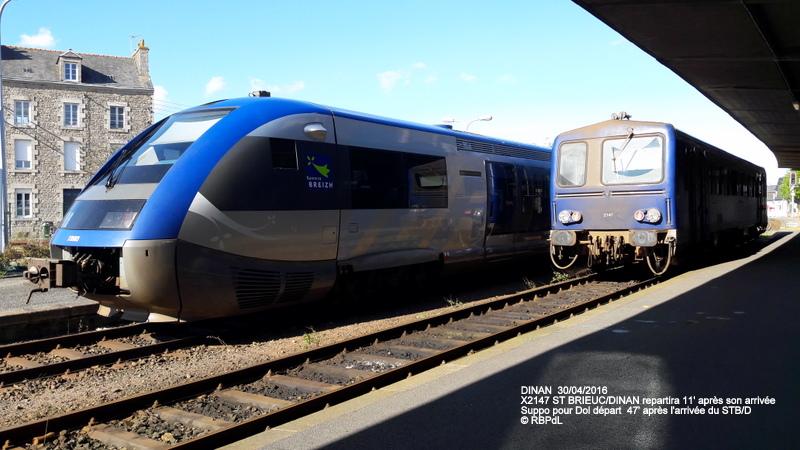 """""""tro breiz ferroviaire """" Rennes/St Brieuc/Lamballe/Dol/Rennes (4- Dinan) 20160322"""