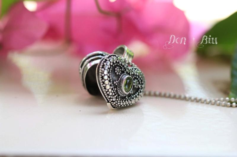 Peridot Heart Locket Necklace Hl110