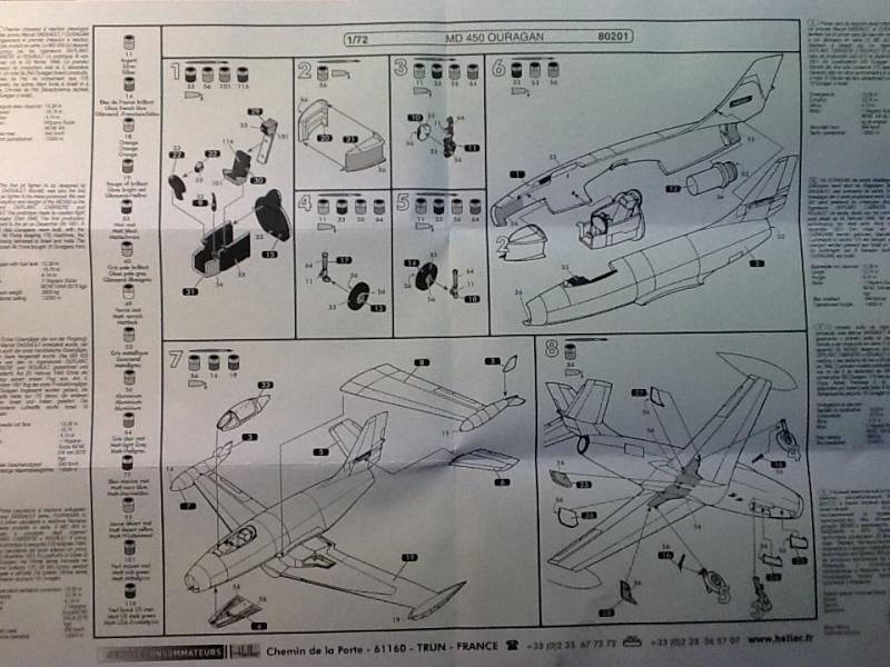 DASSAULT MD 450 OURAGAN 1/72ème ref 80201 - NOTICE Heller38