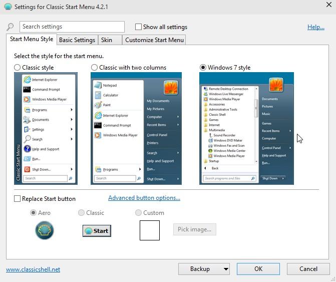 Classic Shell 4.3.1 (Υποστήριξη για τα Windows 10) 2127