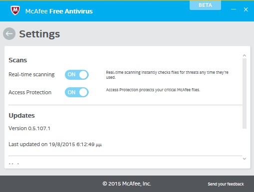 [ΝΕΟ] McAfee Free Antivirus 0.5.107.1 Beta 335