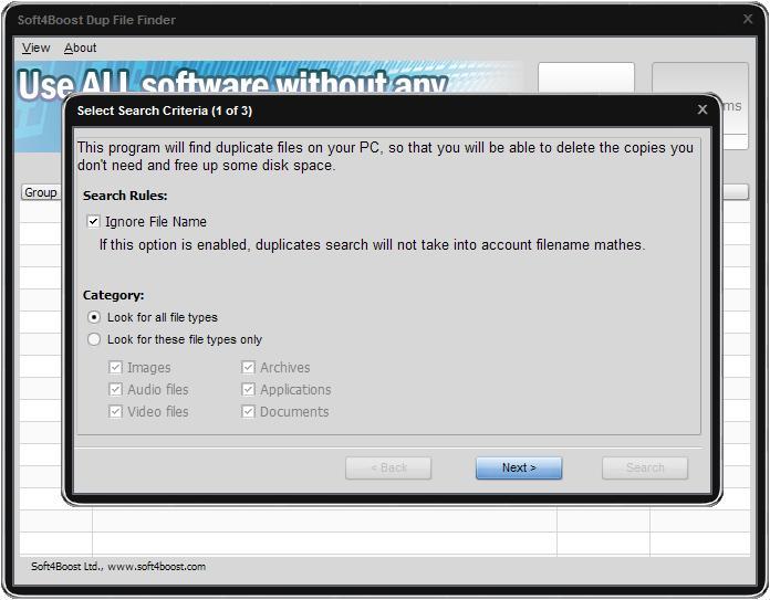 Soft4Boost Dup File Finder 7.8.5.321 - Βρείτε και αφαιρέστε άχρηστα διπλά αρχεία Dffscr10