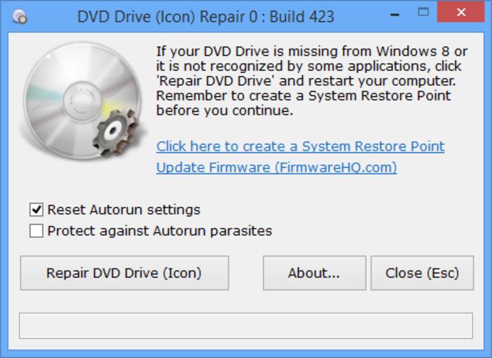 DVD Drive Repair 2.3.0.1150 - Επαναφέρετε το εικονίδιο της μονάδας CD-ROM ή DVD Scr_1410