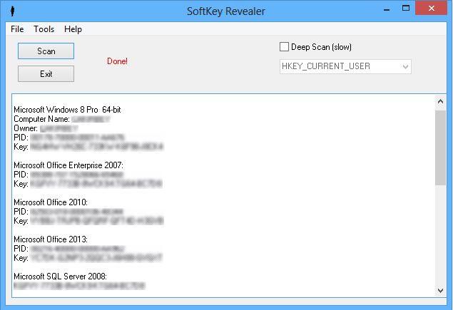 SoftKey Revealer 2.8.0  - Ανακτήστε χαμένα κλειδιά των προγραμμάτων σας Ssskr10