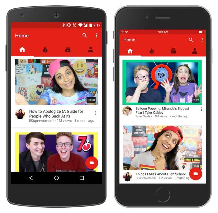 Νέα αρχική σελίδα στο YouTube για συσκευές Android και iOS Youtub10