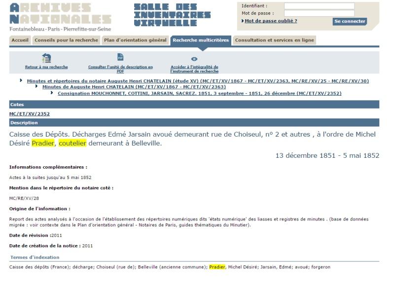 Monsieur PRADIER 1830, 22 rue Bourg l'Abbé Paris P00410