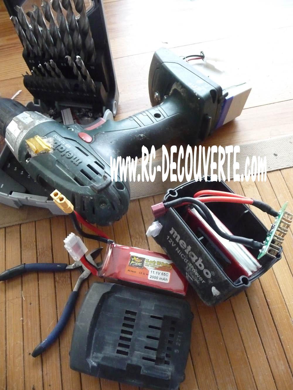 Remplacer batterie Ni-MH 12V pour visseuse Métabo par Lipo 3S Batter10