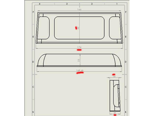 Transformation carrosserie Land Rover D90 en Pickup : Pièce 3D partie arrière Mesure13