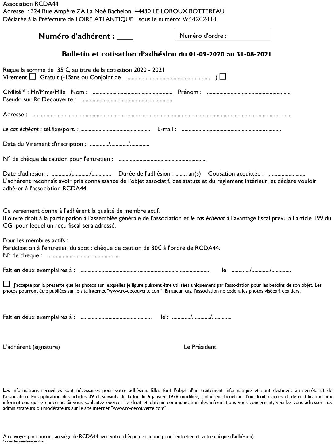 Présentation de l'Association RCDA44, Modalité d'Inscription et Donations V7-bul10