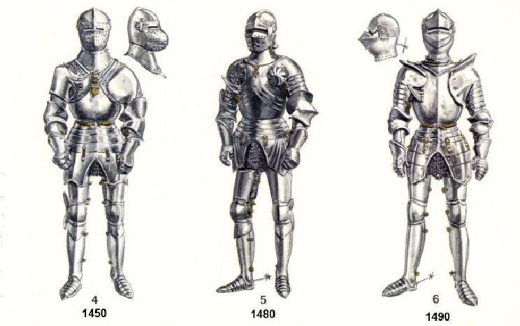 L'armure: evolution à travers le moyen age H110
