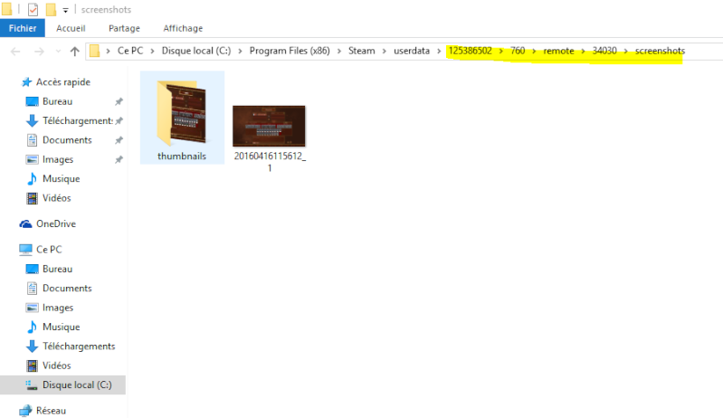 Retrouver les fichiers de jeux et captures d'écran Tu0310