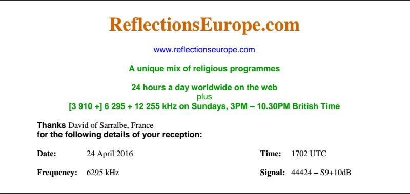 eQSL de ReflectionsEurope  Qsl10