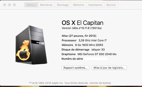 Mise a jour El Capitan Developer Beta 1    10.11.6 Beta210