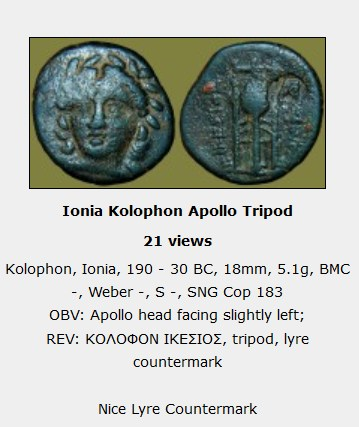 Petit bronze contremarqué pour Colophon en Ionie ... Clipbo10