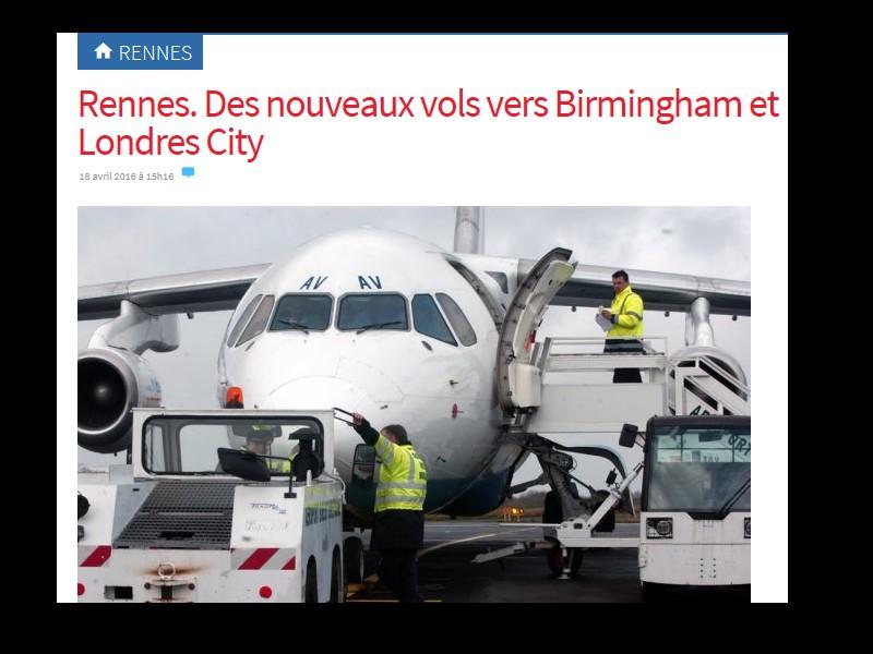 Rennes. Des nouveaux vols vers Birmingham et Londres City  T11