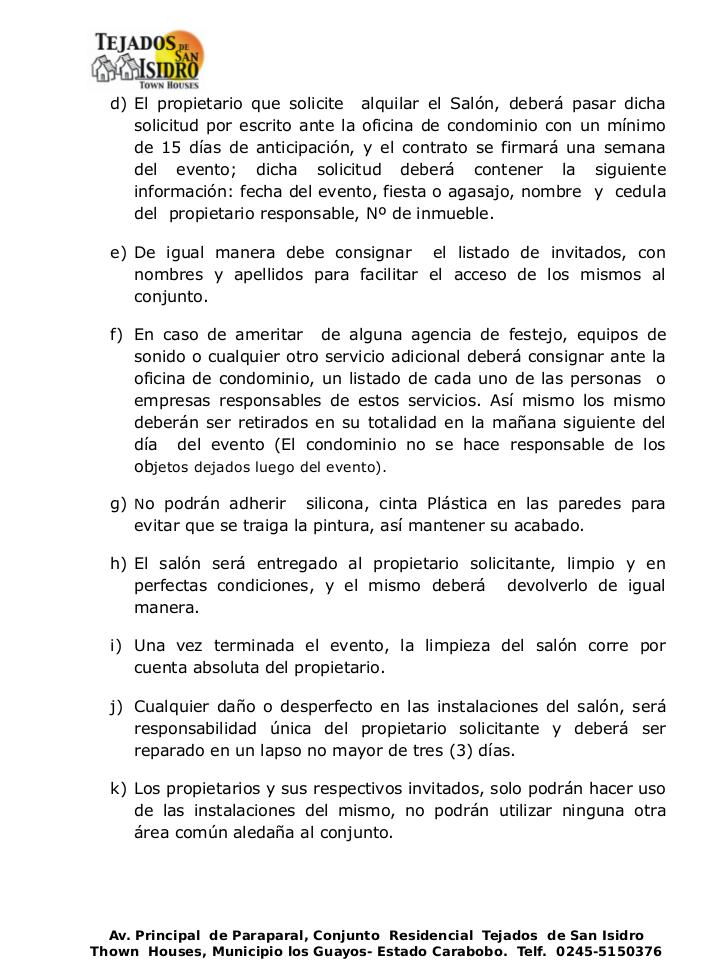 Normativa del Salón de Fiestas Aprobada en asamblea de Copropietarios el día 02 de Marzo de 2016 Pag-2-10