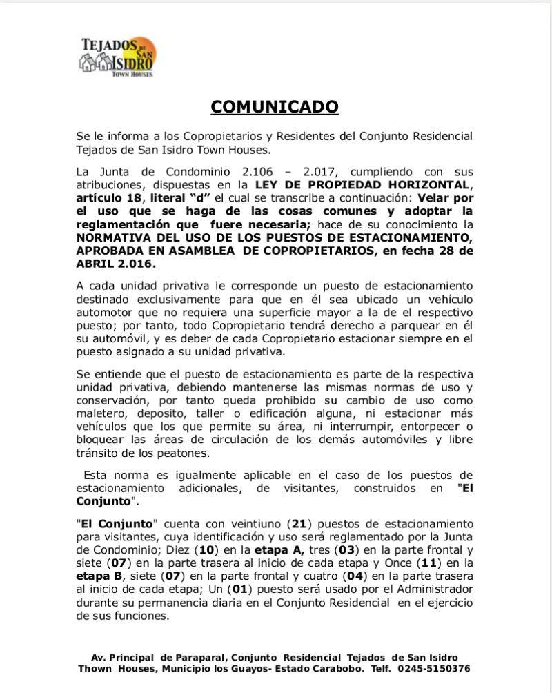 Normativa de Uso de puestos de estacionamiento aprobado en Asamblea de copropietarios el dia 28 de Abril de 2016 Pag1-r10