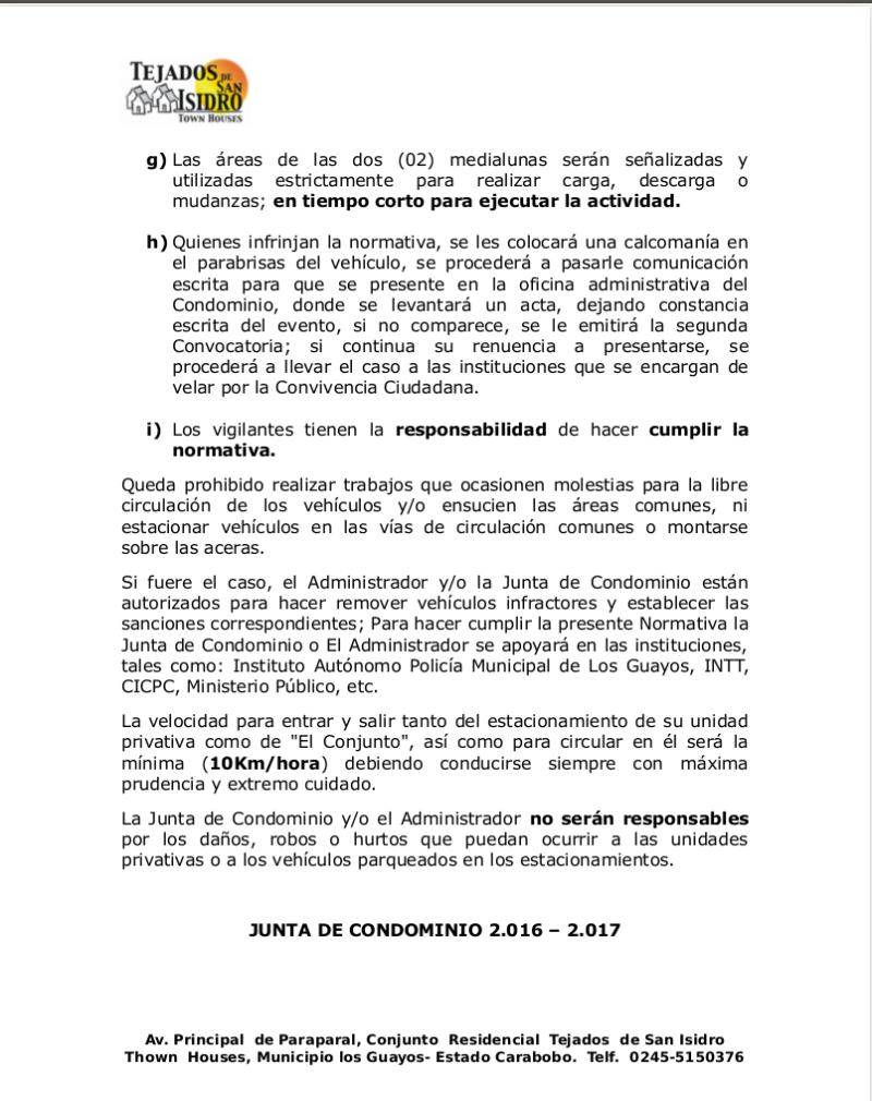 Normativa de Uso de puestos de estacionamiento aprobado en Asamblea de copropietarios el dia 28 de Abril de 2016 Pag3-r10