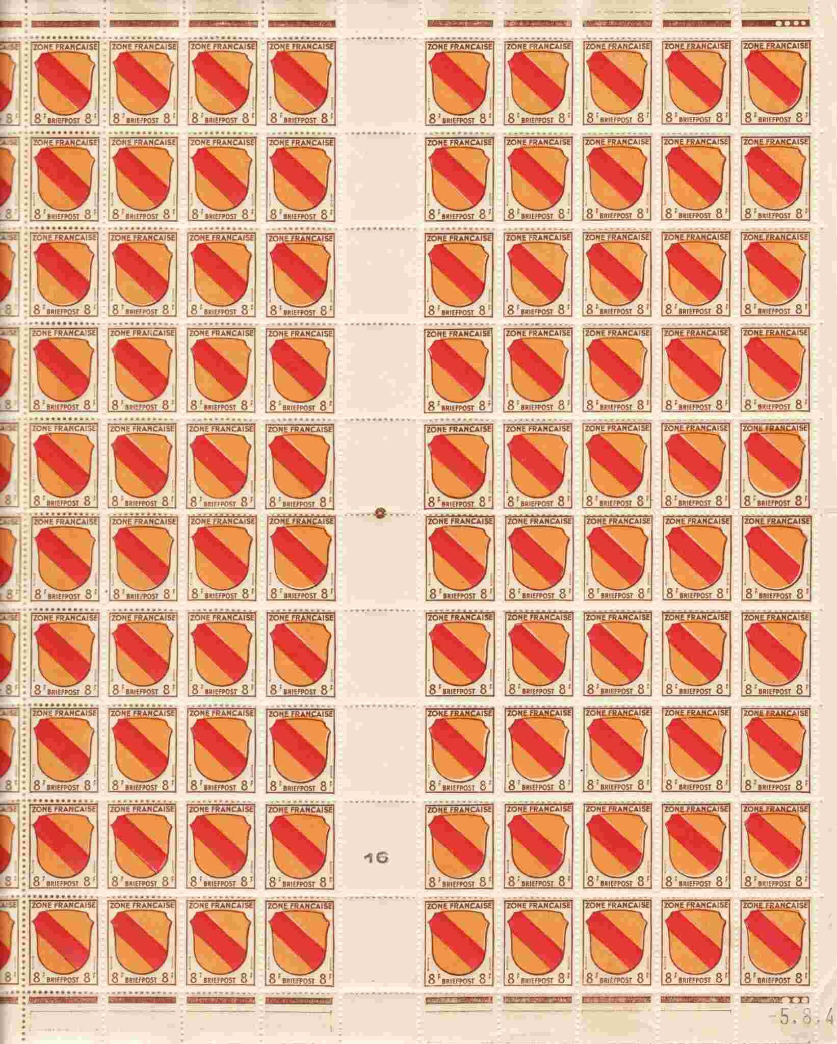 Zone - franz. Zone, Allgemeine Ausgabe/Wappen 4ai-ii10