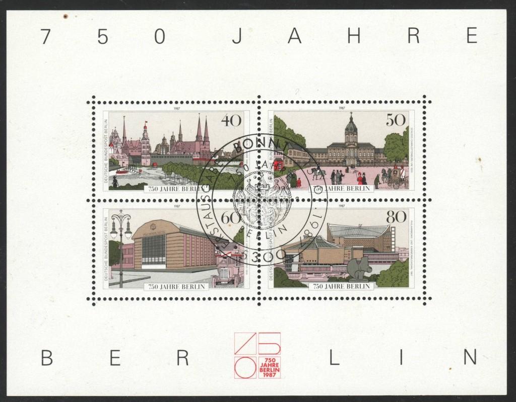 Briefmarkenblocks der Deutschen Bundespost Berlin Bl8b10