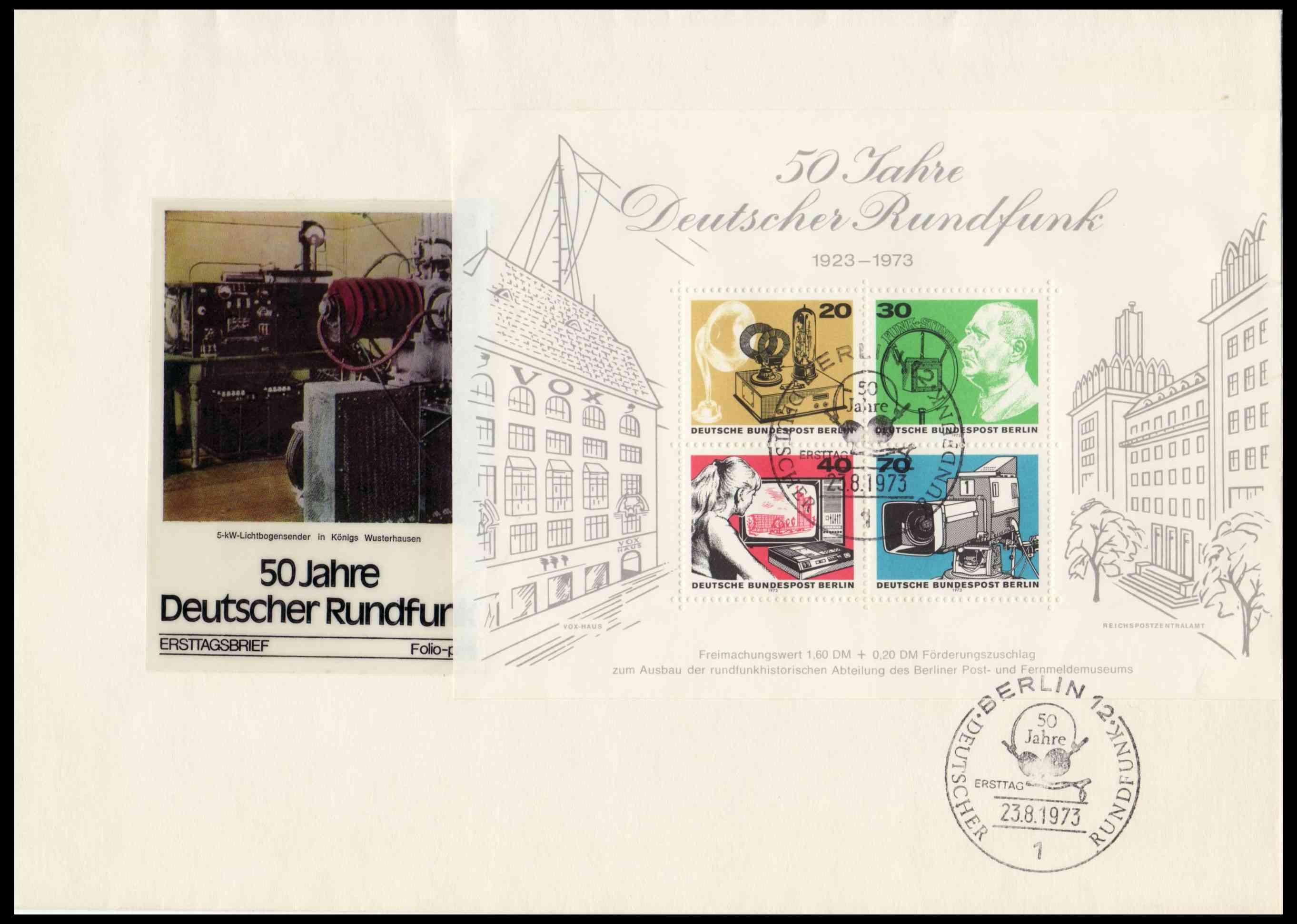 Briefmarkenblocks der Deutschen Bundespost Berlin Block410