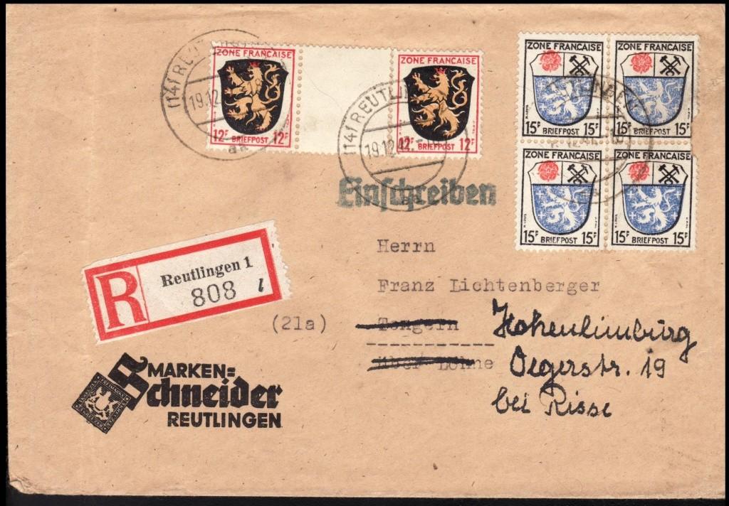 Zone - franz. Zone, Allgemeine Ausgabe/Wappen Frz110