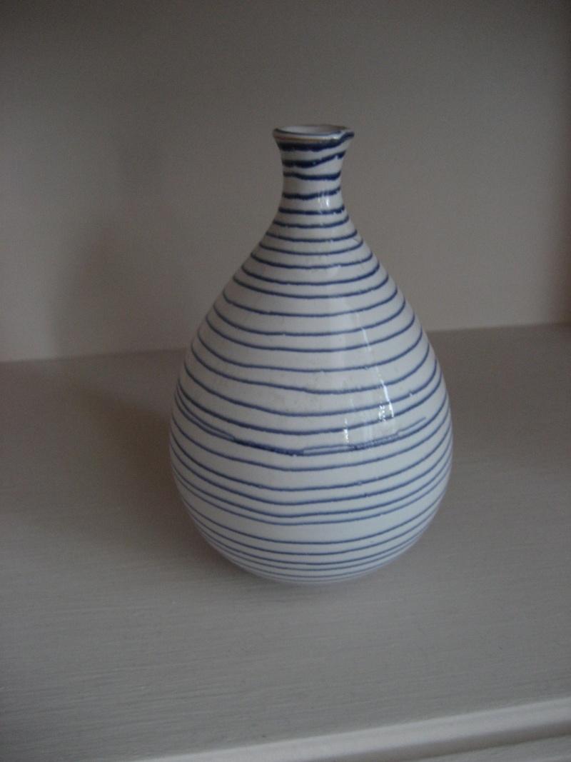 Keramik Hallstatt Vase Blue Stripe Img_3817
