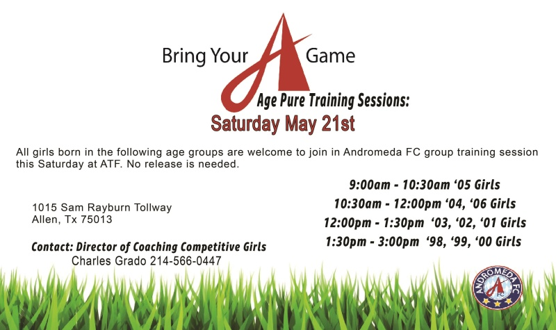 Andromeda FC open training sessions this Saturday at ATF  Afcage10
