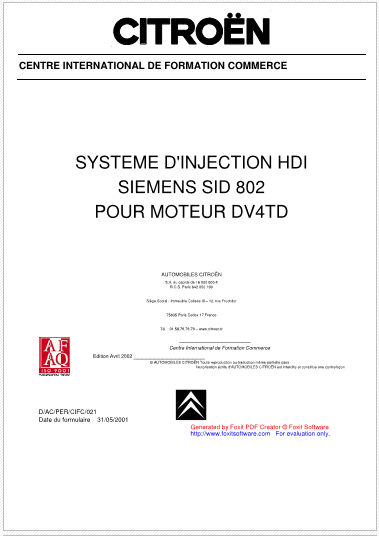 Injection HDI SIEMENS SID 802 Moteur DV4TD Captu10