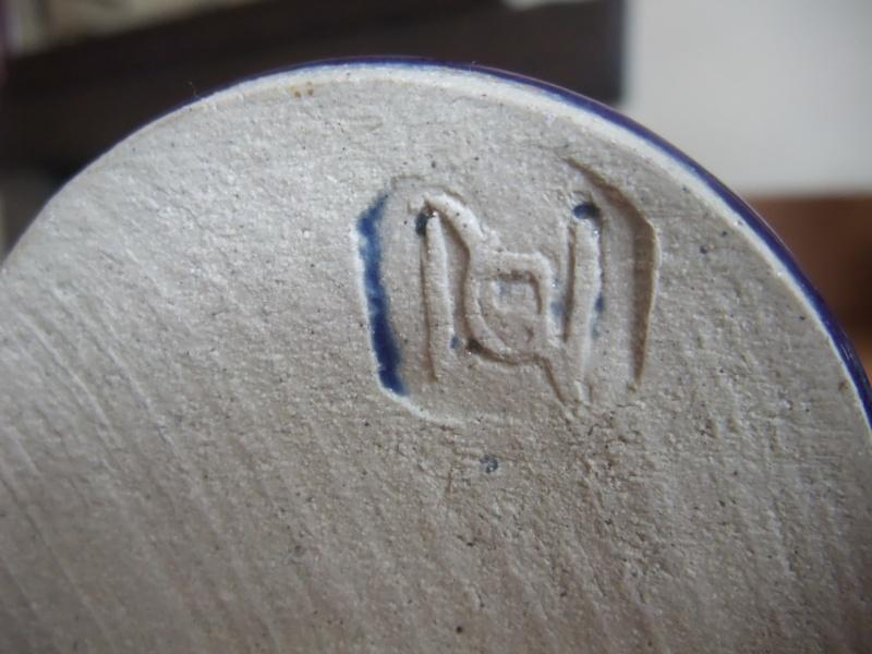 Tapered blue stoneware vase/bottle - possibly Scandinavian - POL mark? Dscf1119