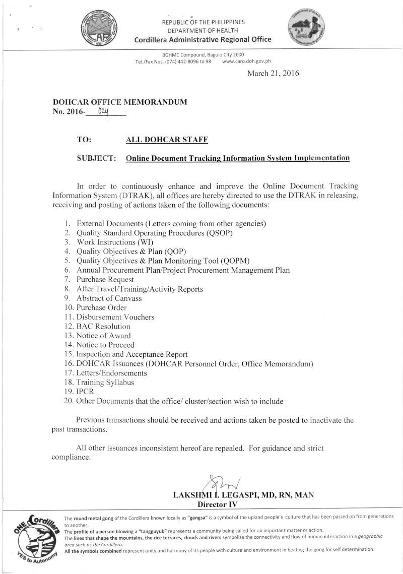 DCOM 2016-024: Online Document Tracking Information System Implementation 02410