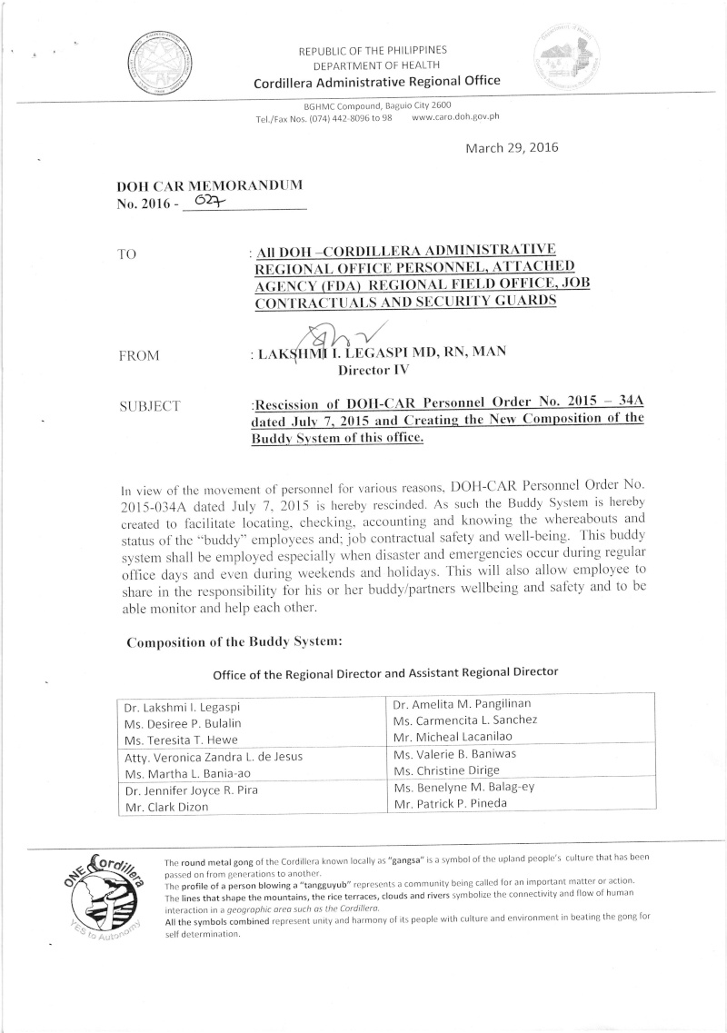 DCOM 2016-027: Rescission of DCOPO 2015-34A dated July 7, 2016 and Creation of New Composition of the Buddy System of this Office 2710