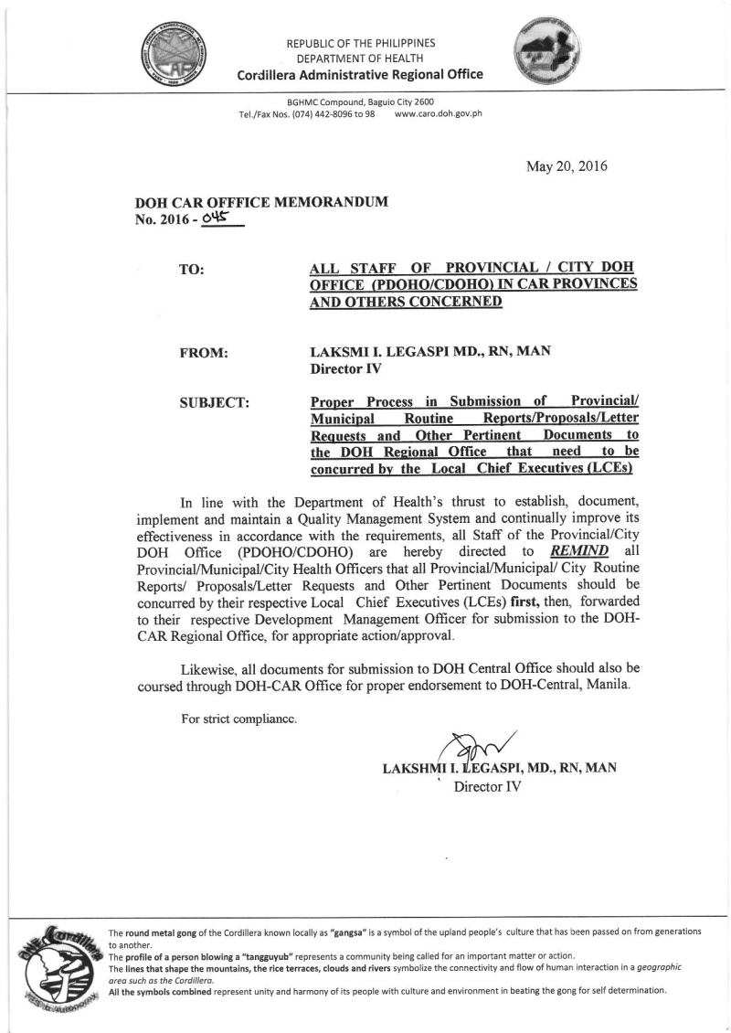 DCOM 2016-045: Proper Process in Submission of Provincial/Municipal Routine Reports/Proposals/Letter of Requests and Other Pertinent Documents to the DOH Regional Office that need to be concurred by the Local Chief Executives (LCEs) Dcom_010