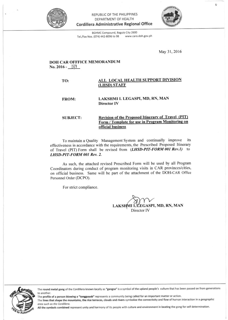 DCOM 2016-047: Revision of the Proposed Itinerary of Travel (PIT) Form/Template for use in Program Monitoring on Official Business Dcom_011