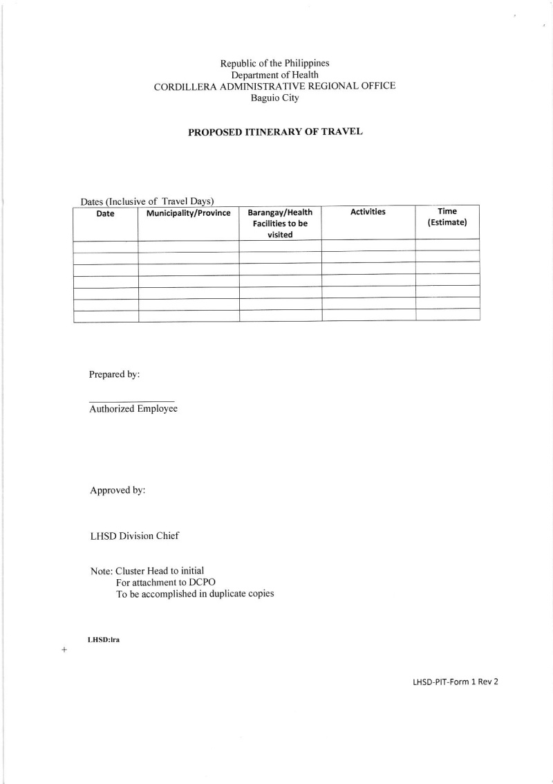 DCOM 2016-047: Revision of the Proposed Itinerary of Travel (PIT) Form/Template for use in Program Monitoring on Official Business Dcom_012
