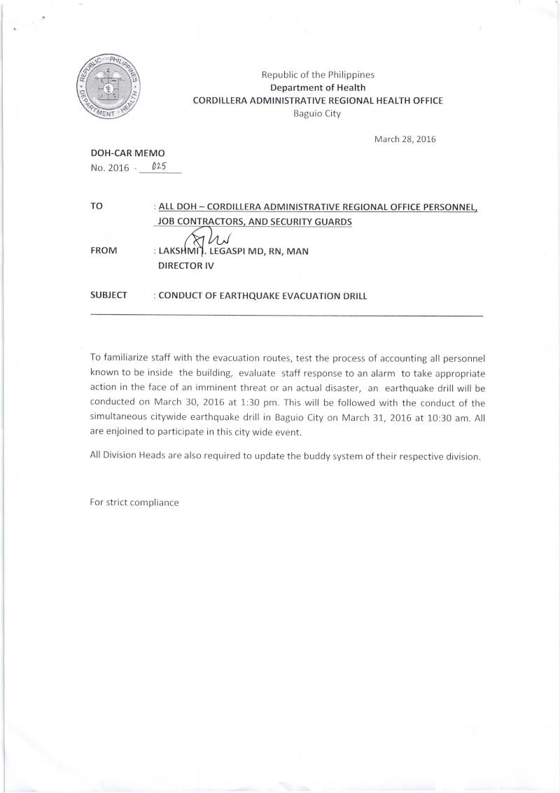 DCOM 2016-025: Conduct of Earthquake Evacuation Drill Dcom_210