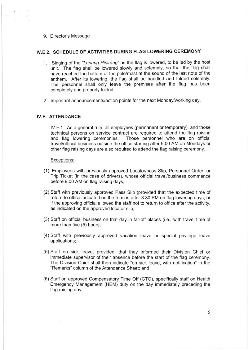 DCOO 2016-001: Policy on the Conduct of Flag Raising and Lowering Ceremonies for DOH-CAR Office Dcoo_210
