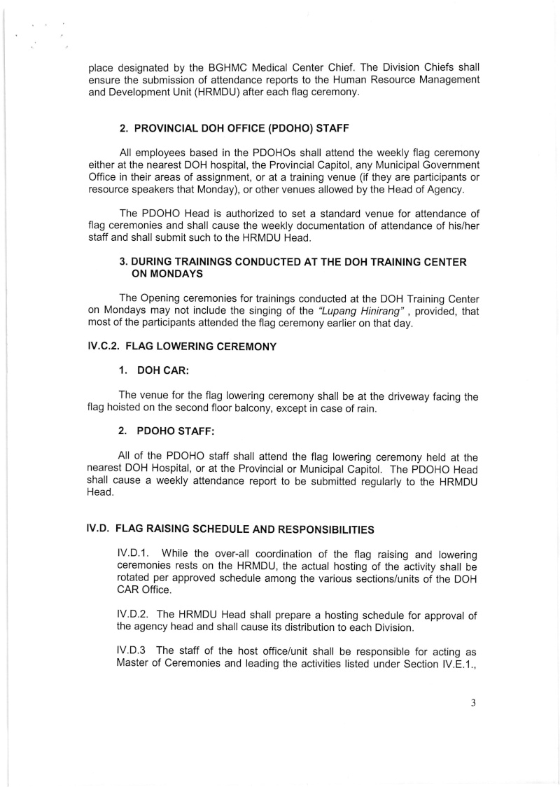 DCOO 2016-001: Policy on the Conduct of Flag Raising and Lowering Ceremonies for DOH-CAR Office Dcoo_212