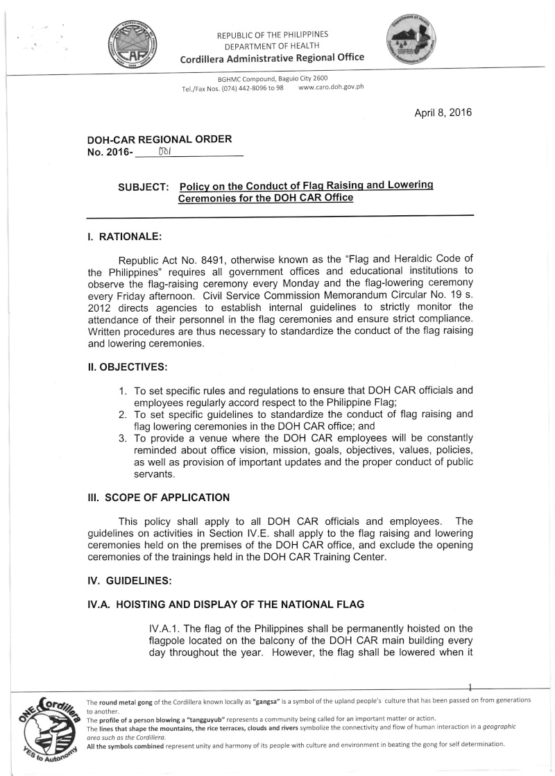 DCOO 2016-001: Policy on the Conduct of Flag Raising and Lowering Ceremonies for DOH-CAR Office Dcoo_213