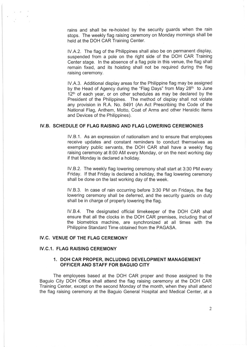 DCOO 2016-001: Policy on the Conduct of Flag Raising and Lowering Ceremonies for DOH-CAR Office Dcoo_214