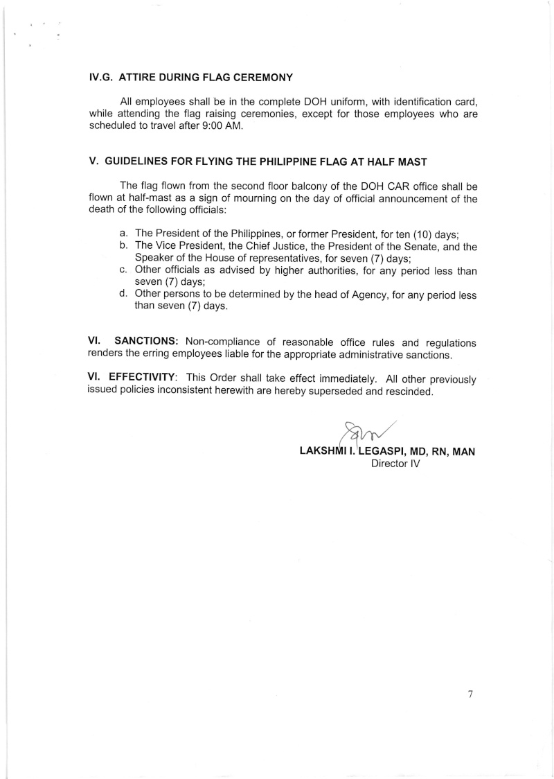 DCOO 2016-001: Policy on the Conduct of Flag Raising and Lowering Ceremonies for DOH-CAR Office Dcoo_215