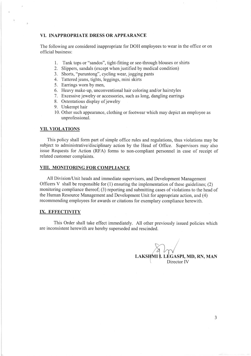 DCOO 2016-002: Office Policy on Dress Code and use of Official DOH Uniform Dcoo_217