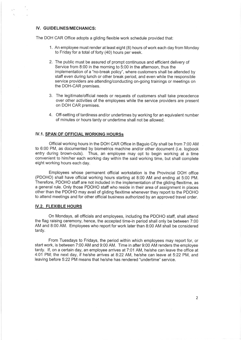"""DCOO 2016-003: Policies and Guidelines on the Gliding Flexible Work Schedule, Including """"No Break"""" Policy in DOH-CAR Office Dcoo_221"""