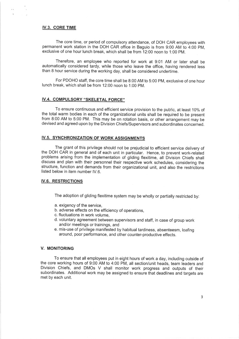 """DCOO 2016-003: Policies and Guidelines on the Gliding Flexible Work Schedule, Including """"No Break"""" Policy in DOH-CAR Office Dcoo_222"""