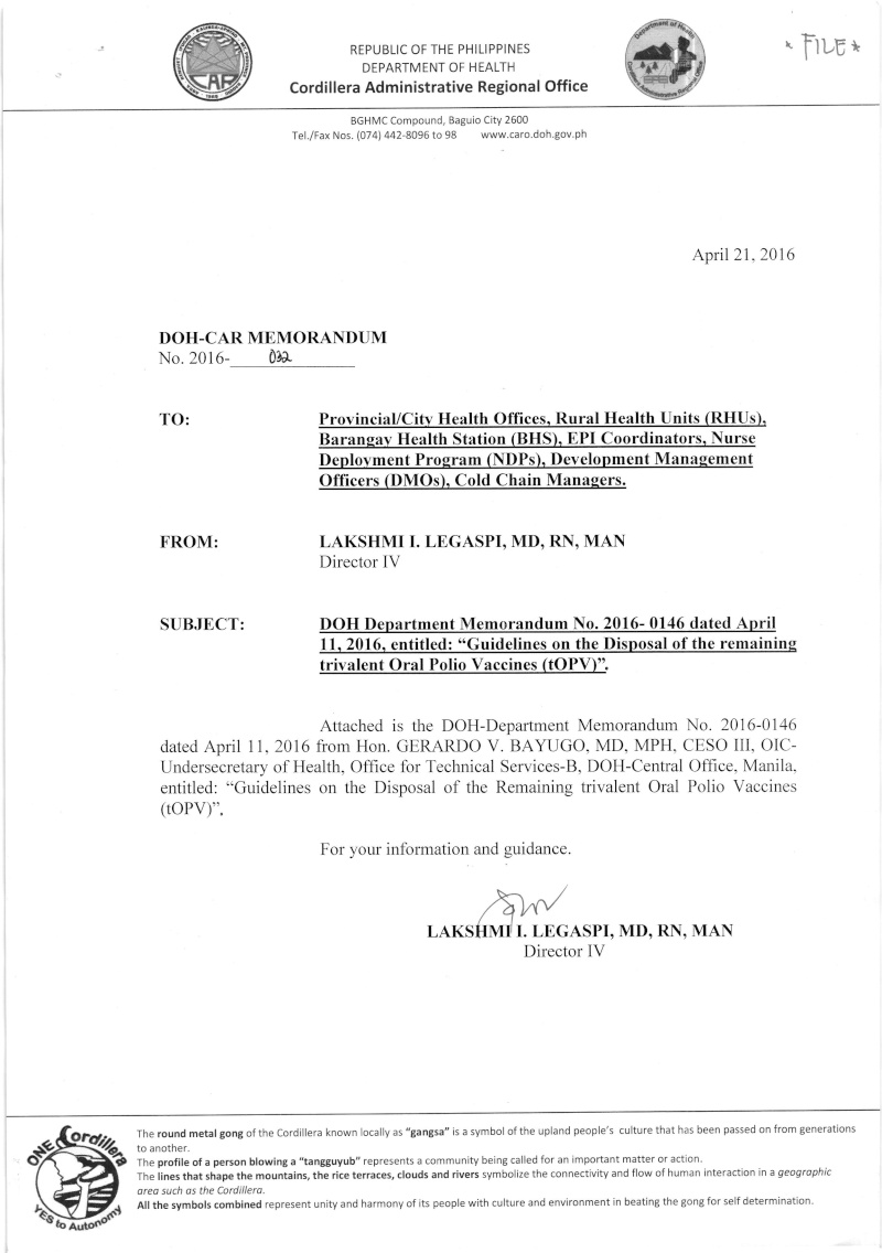 "DCOM 2016-032: DOH Department Memorandum no. 2016-0146 dated April 11, 2016 re: ""Guidelines on the Disposal of the remaining trivalent OPV"" Dm3210"