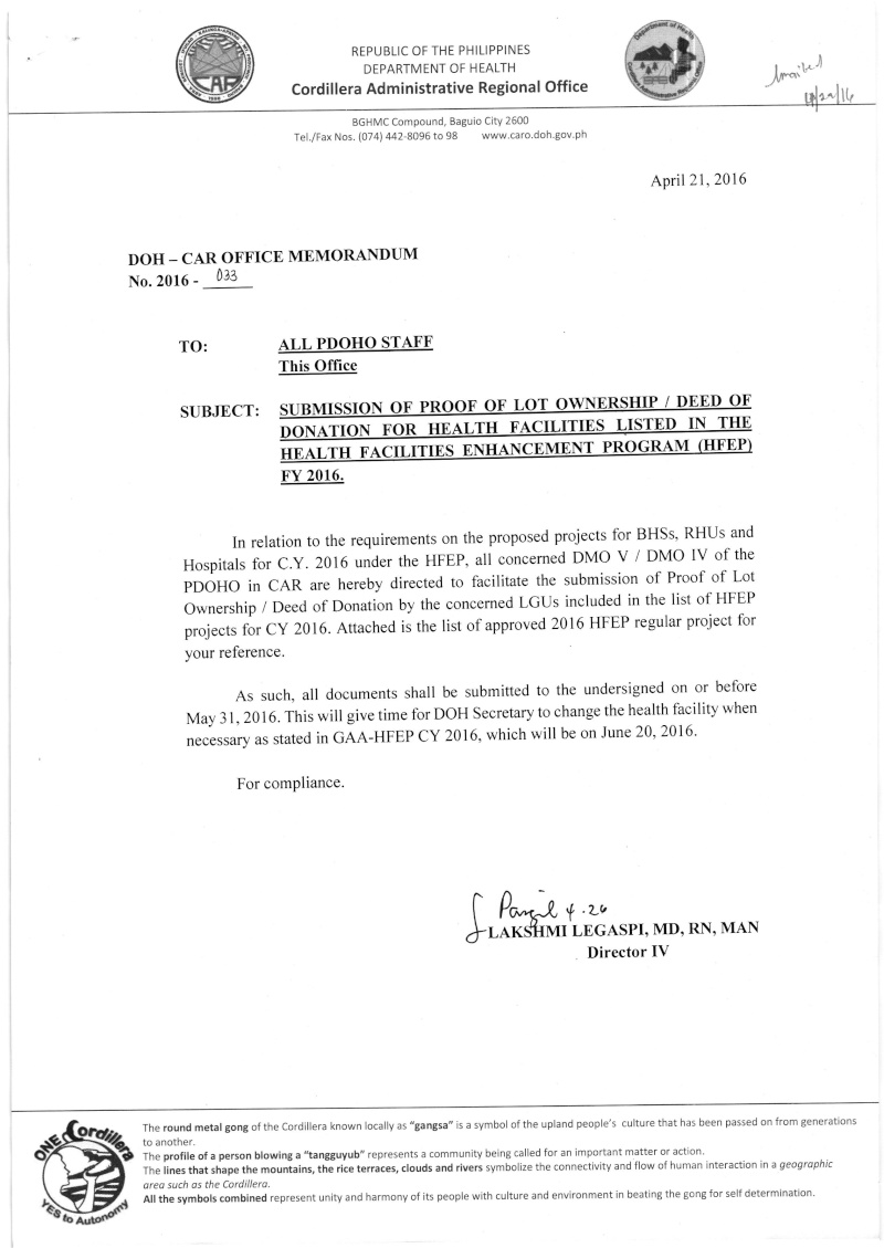 DCOM 2016-033: Submission of proof of lot ownership/deed of donation for health facilities listed in the HFEP FY 2016 Dm_03310