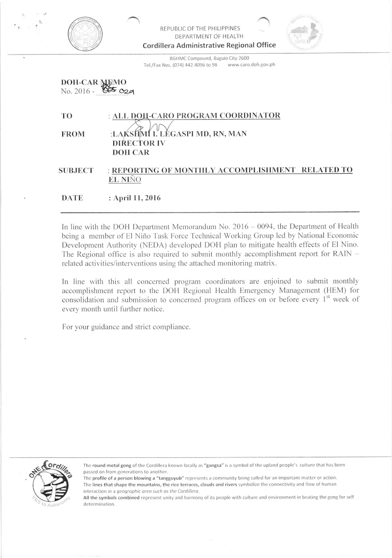DCOM 2016-029: Reporting of Monthly Accomplishment Related to El Niño Dm_2910