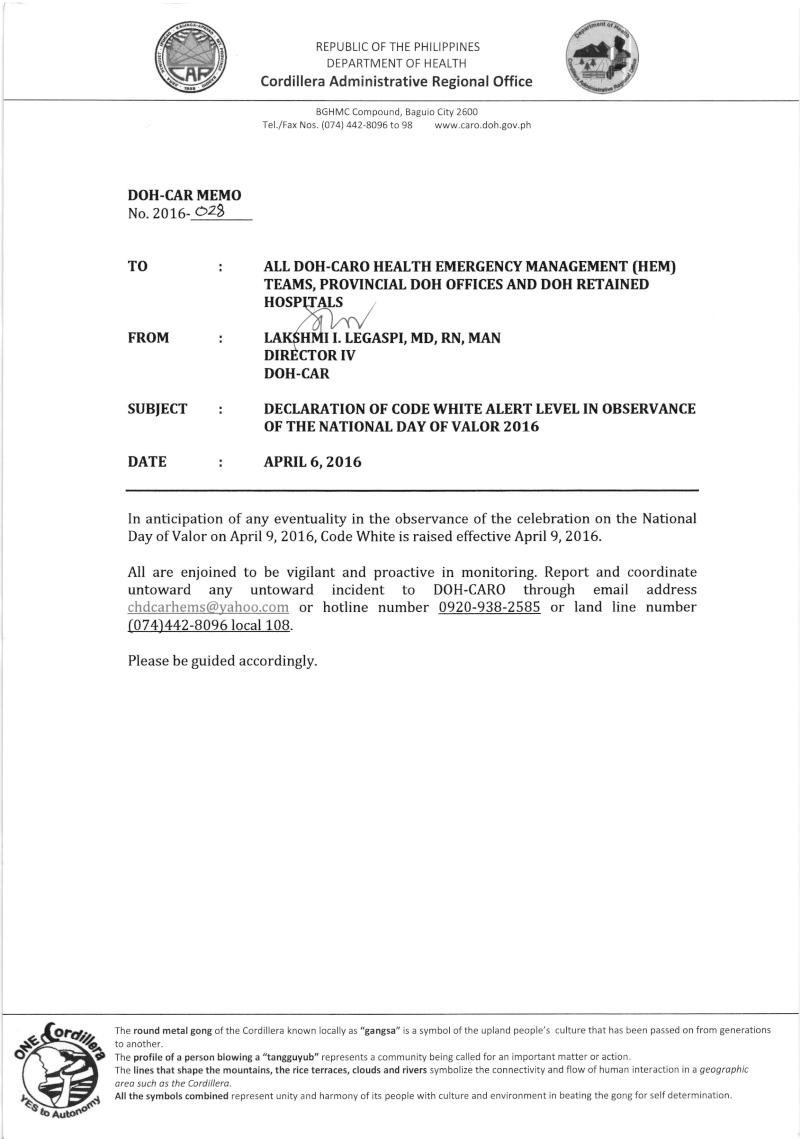 DCOM 2016-028: Declaration of Code White Alert in Observance of the National Day of Valor 2016 Memo_210