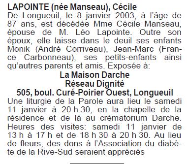 Manseau, Cécile Lapointe Cycile10