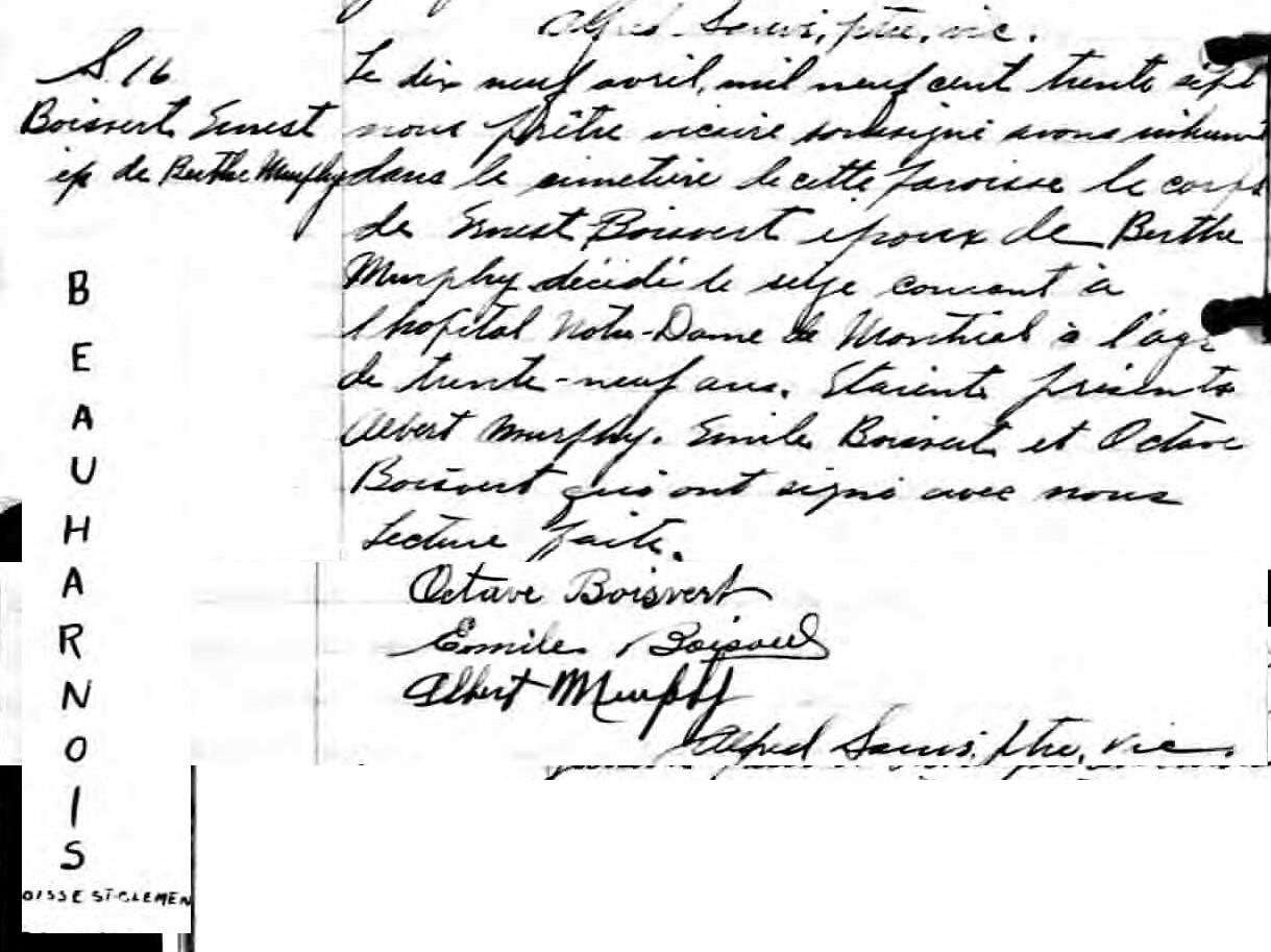 Recherche la famille François Yvan Boisvert Ernest10